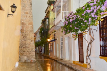 Cartagena's streets in the rain